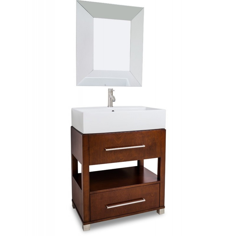 28 chocolate bathroom vanity preassembled with top and bowl for Bathroom vanity display for sale