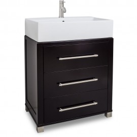 "28"" Chocolate Bathroom Vanity VAN097-T Preassembled with top and bowl"