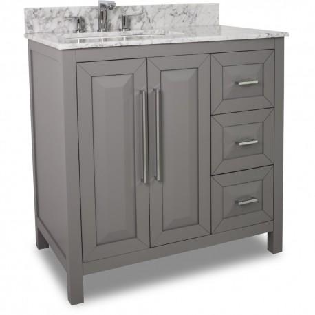 """35"""" grey modern bathroom vanity van100-36-t with white marble top"""