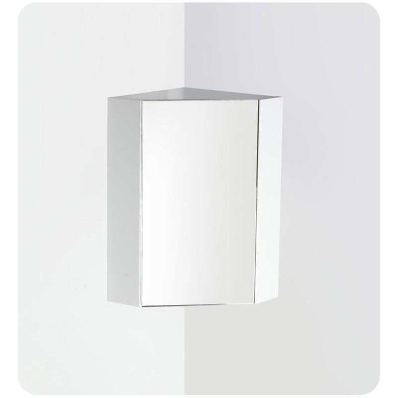 Fresca coda 14 white corner medicine cabinet w mirror Corner medicine cabinet
