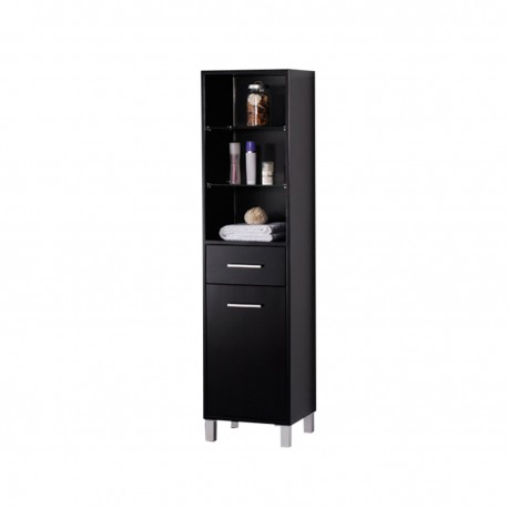 Fresca Espresso Bathroom Linen Side Cabinet w/ 3 Open Shelves