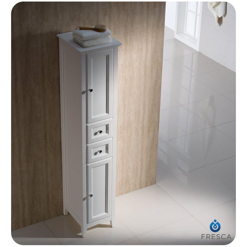 fresca oxford antique white tall bathroom linen cabinet