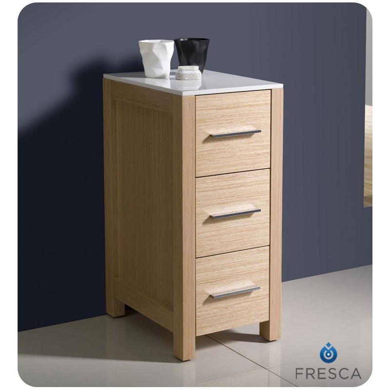 Oak linen cabinet for bathrooms