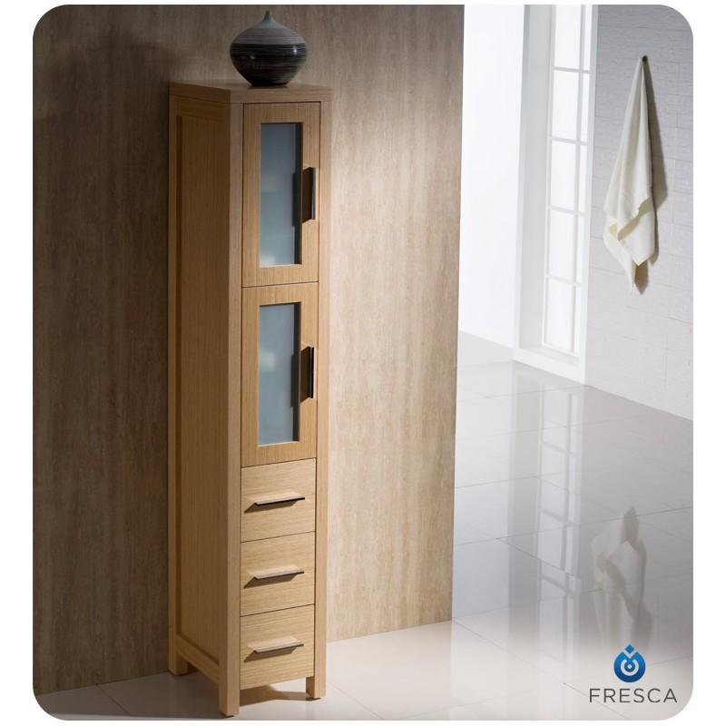 cabinets fresca torino light oak tall bathroom linen side cabinet