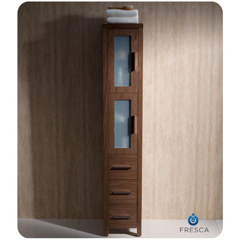cabinets fresca torino walnut brown tall bathroom linen side cabinet