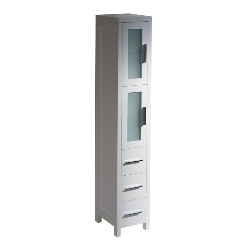Fresca torino white tall bathroom linen side cabinet for Bathroom linen cabinets