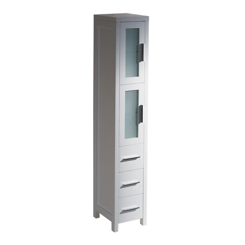 bath storage cabinets fresca torino white tall bathroom linen