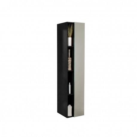 Fresca Black Bathroom Linen Side Cabinet w/ 4 Cubby Holes & Mirror
