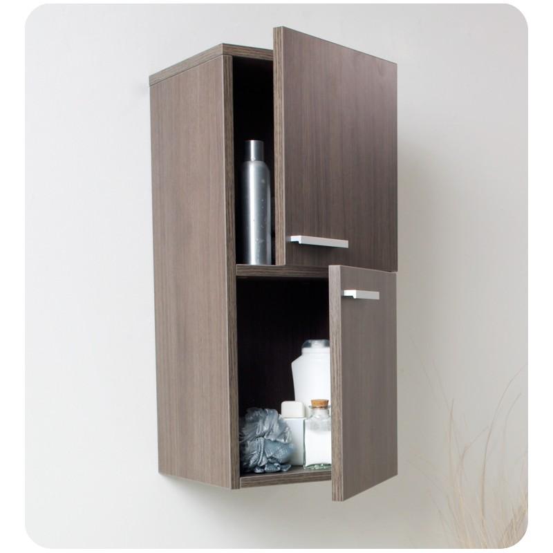 Fresca Gray Oak Bathroom Linen Side Cabinet W 2 Storage Areas Burroughs Hardwoods Online Store