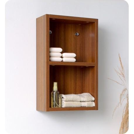 Fresca Teak Bathroom Linen Side Cabinet w/ 2 Open Storage Areas
