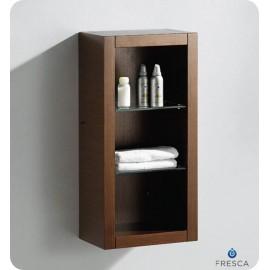 Fresca Wenge Brown Bathroom Linen Side Cabinet w/ 2 Glass Shelves