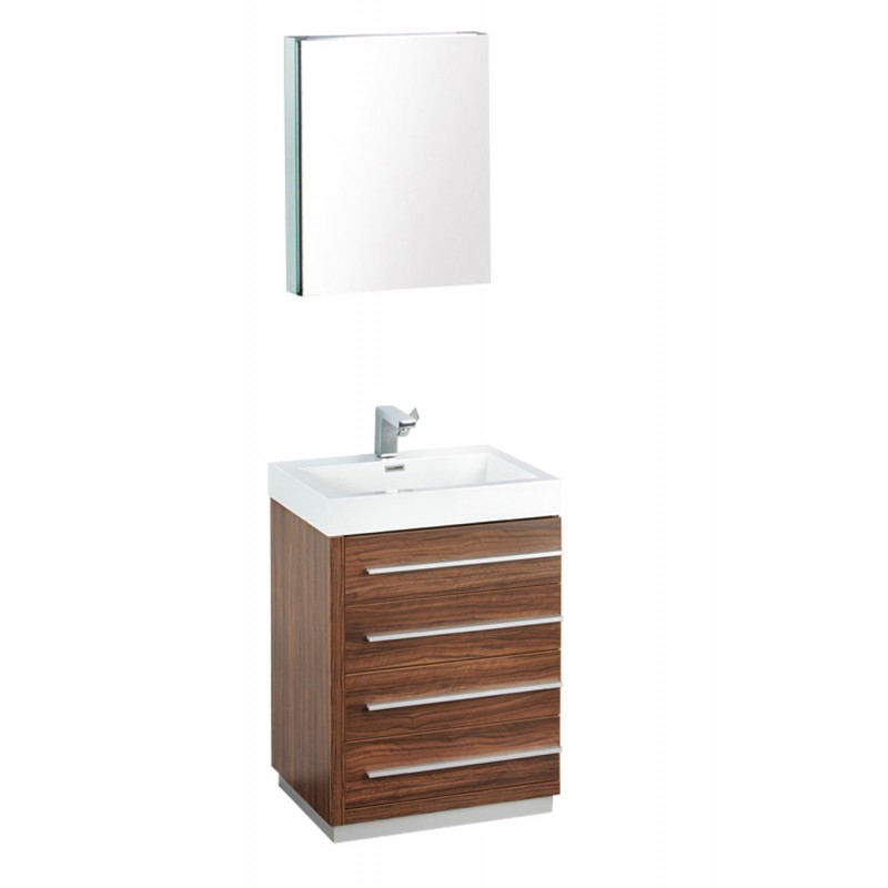 fresca livello 24 walnut modern bathroom vanity w
