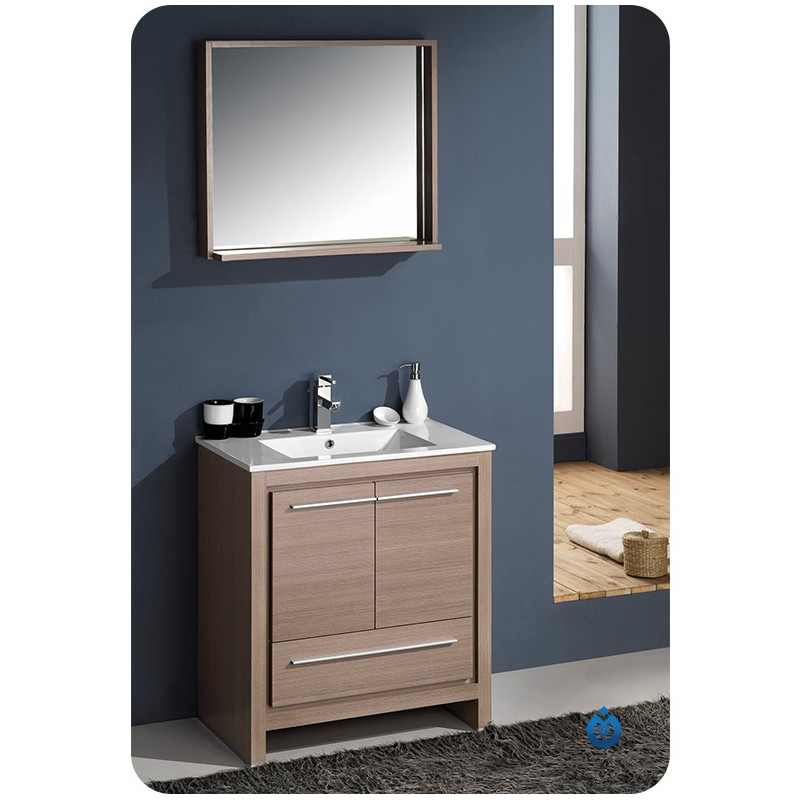 Fresca Allier 30 Gray Oak Modern Bathroom Vanity W