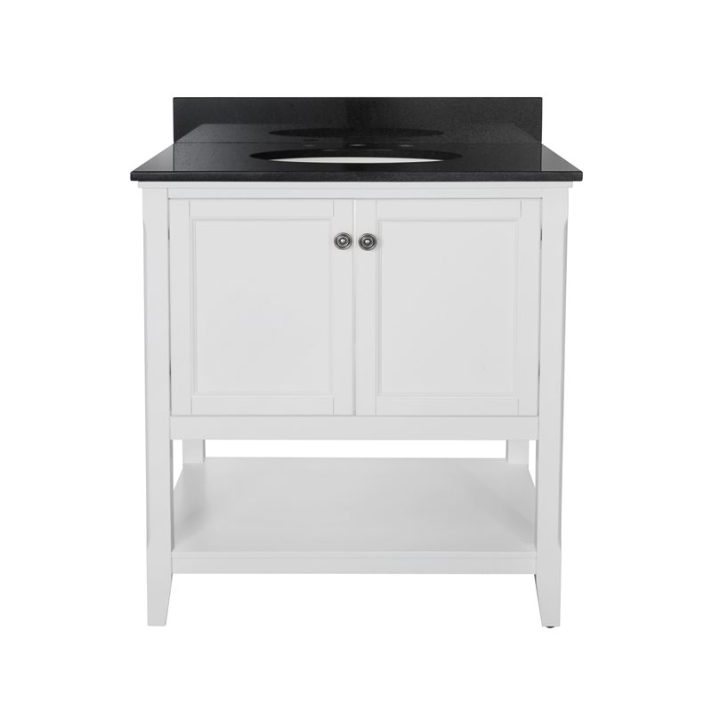 AUGUSTE 30 INCH BATHROOM VANITY IN WHITE WITH TWO DOORS AND OPEN SHELF