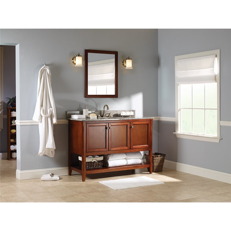 Auguste 48 inch bathroom vanity in chestnut with three for Bathroom vanity display for sale