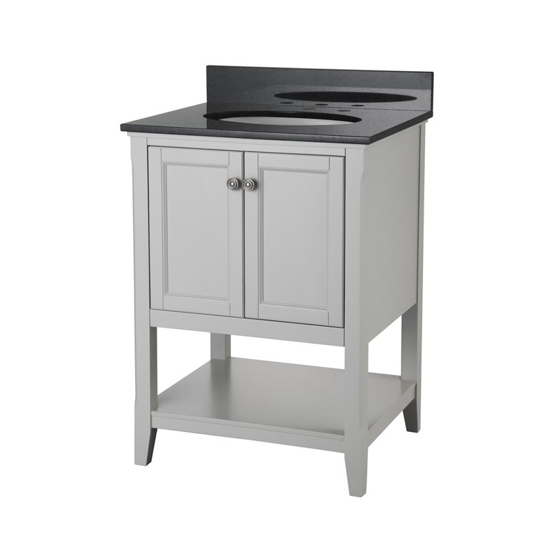 Auguste 24 Inch Bathroom Vanity In Grey With Two Doors And