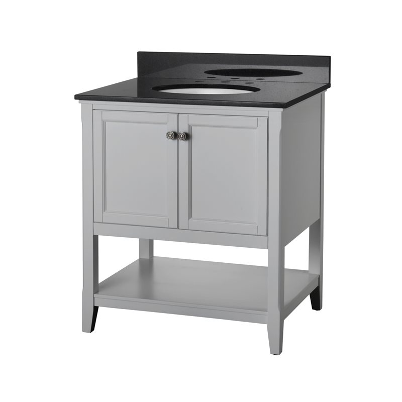 30 Bathroom Vanity Grey 30 inch bathroom vanity in grey with two doors and open shelf