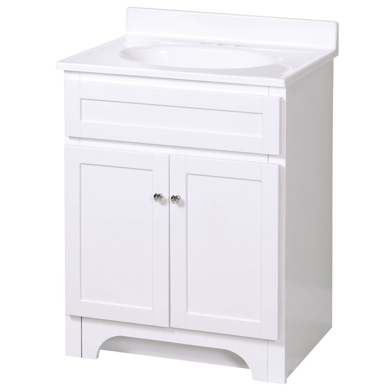 Columbia 24 Inch White Bath Vanity With Cultured Marble Vanity Top Burroughs Hardwoods Online