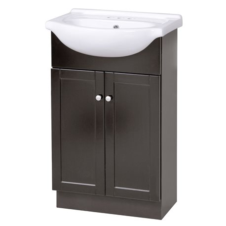 COLUMBIA 22 INCH ESPRESSO EURO BATH VANITY WITH VITREOUS CHINA VANITY TOP