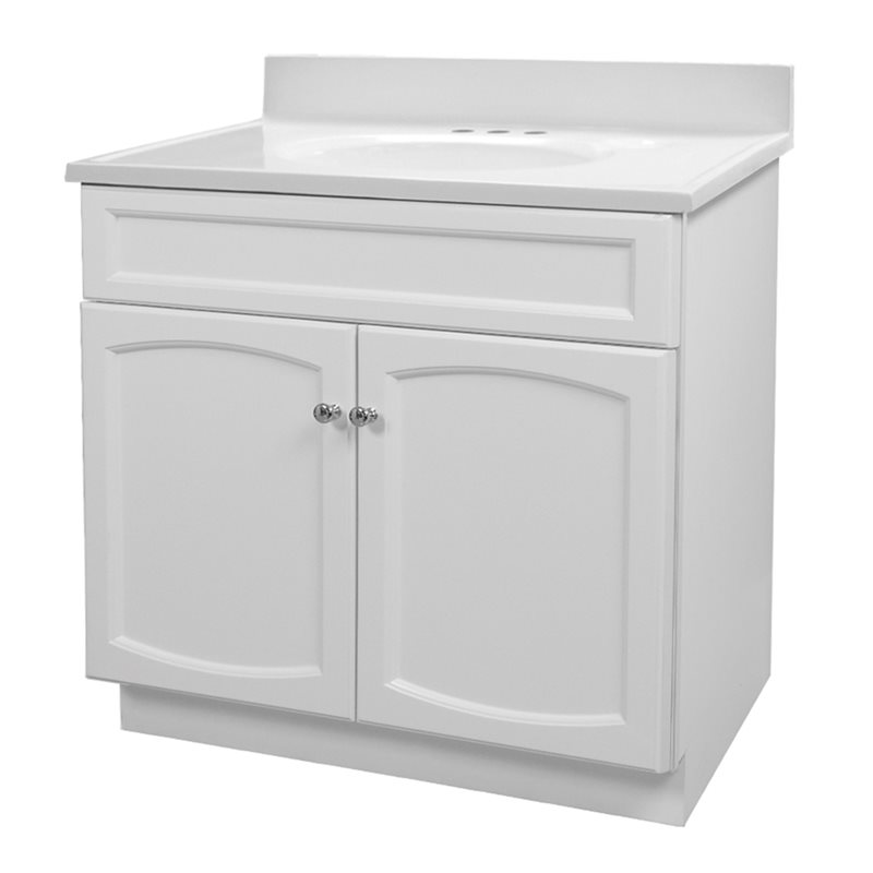 heartland 30 inch white vanity with cultured marble vanity