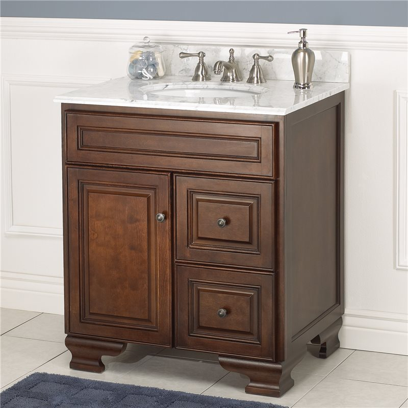 Hawthorne 30 inch walnut bathroom vanity burroughs for Bathroom cabinets 30 inch