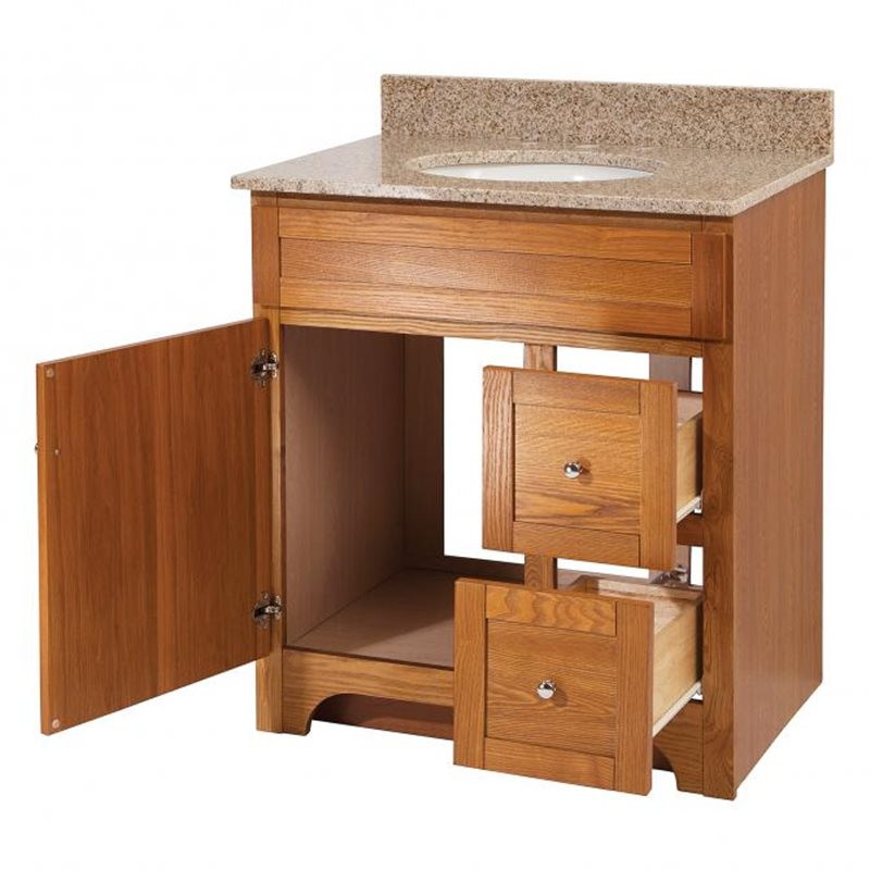 Worthington 30 inch oak bathroom vanity burroughs for Bathroom 30 inch vanity
