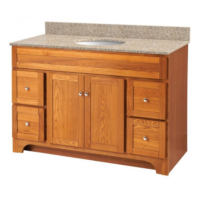 Worthington 48 inch oak bathroom vanity burroughs for Bathroom 48 inch vanity
