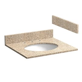 25 INCH WHEAT BEIGE GRANITE VANITY TOP WITH PRE-ATTACHED VITREOUS CHINA SINK