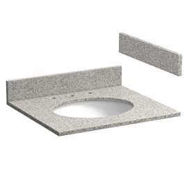25 INCH METEORITE GRAY GRANITE VANITY TOP WITH PRE-ATTACHED VITREOUS CHINA SINK