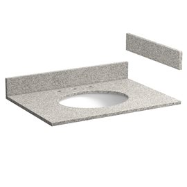31 INCH METEORITE GRAY GRANITE VANITY TOP WITH PRE-ATTACHED VITREOUS CHINA SINK