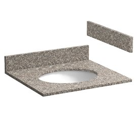 25 INCH BURLYWOOD GRANITE VANITY TOP WITH PRE-ATTACHED VITREOUS CHINA SINK