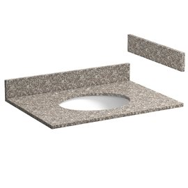 31 INCH BURLYWOOD GRANITE VANITY TOP WITH PRE-ATTACHED VITREOUS CHINA SINK