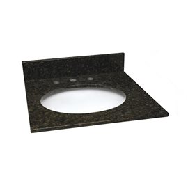 25 INCH UBATUBA GRANITE VANITY TOP WITH PRE-ATTACHED VITREOUS CHINA SINK