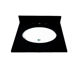 25 INCH ABSOLUTE BLACK GRANITE VANITY TOP WITH PRE-ATTACHED VITREOUS CHINA SINK