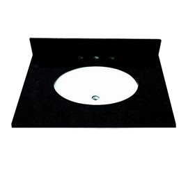 31 INCH ABSOLUTE BLACK GRANITE VANITY TOP WITH PRE-ATTACHED VITREOUS CHINA SINK