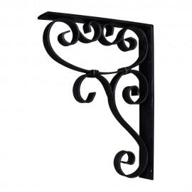MCOR5-BLK Metal (Iron) Scrolled Bar Bracket with Knot Detail. Finish Black