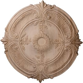 "16""OD x 1 1/8""P Carved Acanthus Leaf Wood Ceiling Medallion"
