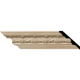 "2 1/8""H x 2 3/8""P x 3 1/4""F x 96""L Acanthus Leaf Carved Wood Crown Moulding"