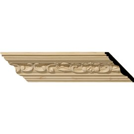 "2 1/4""H x 2 3/8""P x 3 1/4""F x 96""L Medway Carved Wood Crown Moulding"