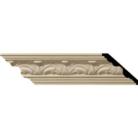 "3 3/8""H x 3 3/4""P x 5""F x 96""L Acanthus Leaf Carved Wood Crown Moulding"