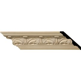"4 1/2""H x 5""P x 6 3/4""F x 96""L Acanthus Leaf Carved Wood Crown Moulding"