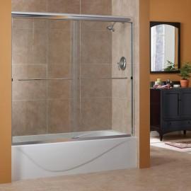 "60""H Cove 1/4"" Frameless Sliding Tub Door Custom- Autumn Glass Maximum Opening 72""W."