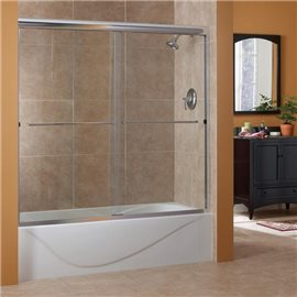 "60""H Cove 1/4"" Frameless Sliding Tub Door Custom- Glue Chip Glass Maximum Opening 72""W."