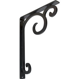 "1 1/2""W x 12""D x 15""H Attica Single, Wrought Iron Bracket, (Single center brace)"