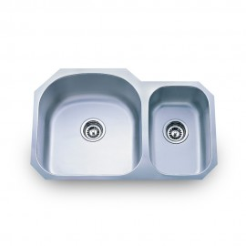 807L Stainless Steel Kitchen Sink with Two Unequal Bowls.