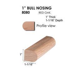"1"" Red Oak Bull Nosing Straight"