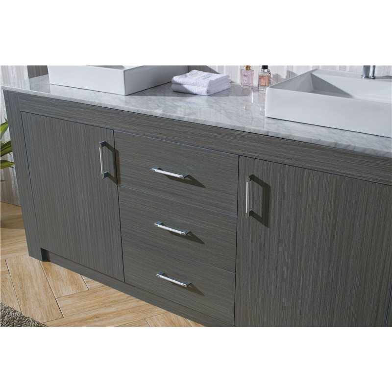 Tavian 60 Double Bathroom Vanity Cabinet Set In Zebra Grey