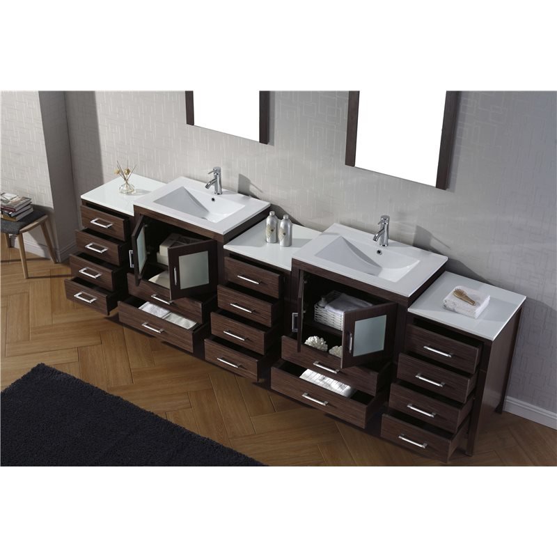 Dior 110 Double Bathroom Vanity Cabinet Set In Espresso