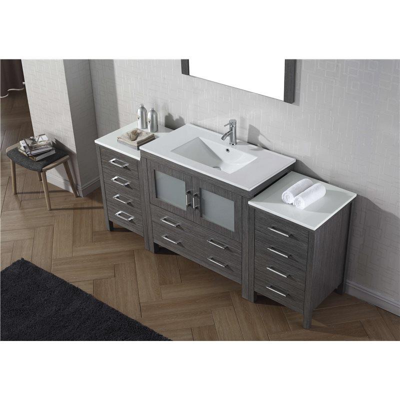 Dior 72 Single Bathroom Vanity Cabinet Set In Zebra Grey