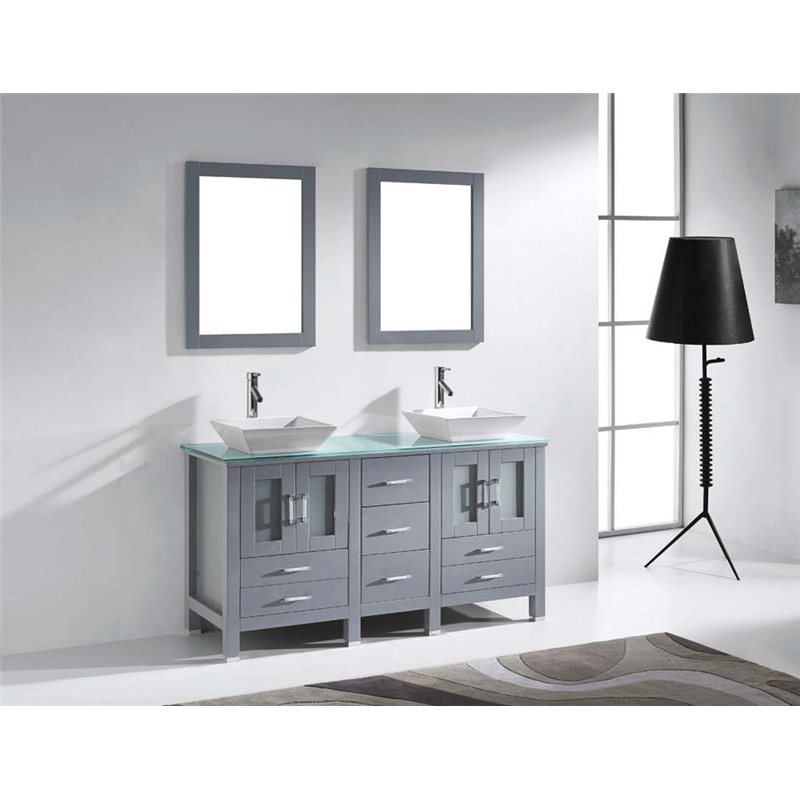Bradford 60 Double Bathroom Vanity Cabinet Set In Grey